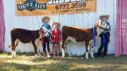 Kirsty - holding clover on left Isla - holding Minty Skye in middle. Northern Youth Hereford heifer show in inverell
